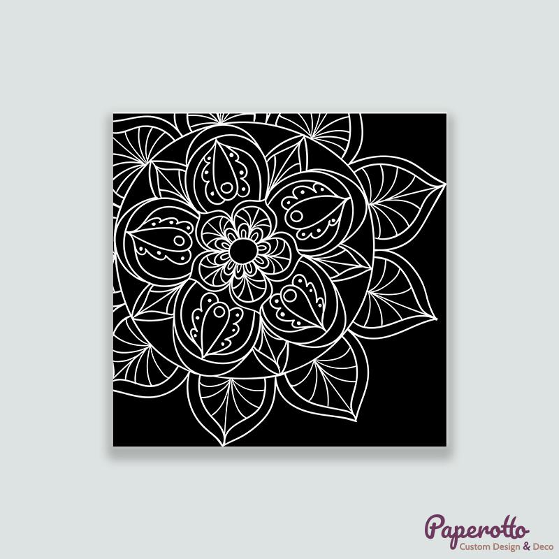 Cuadro Mandala blanco sobre fondo negro - Paperotto